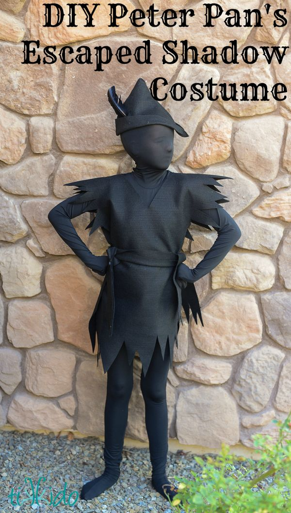 DIY Peter Pan's Escaped Shadow Costume (or Just a Regular Peter Pan Costume). Would be cute for a duo, one dressed as Peter, one as the Shadow. Maybe a family, with the baby or pet as Tinkerbell?