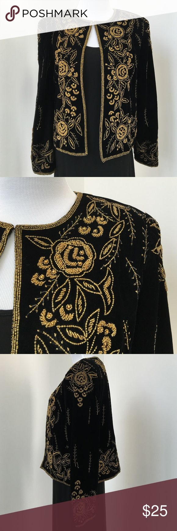 "Ladies Black Velvet Open Jacket Size Small Beautiful black velvet, open jacket with gold beading design. 20"" length. 15"" shoulder width. Size Small. Leslie Fay Jackets & Coats"