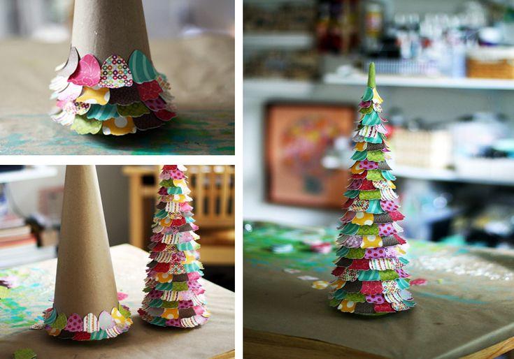 "Alberi di Natale stile ""patchwork"" con carta colorata #paper #christmas #tree #DIY #patchwork"
