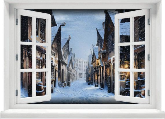Window With A View Harry Potter Hogsmeade Winter Scene Wall Mural In 2019 Harry Potter