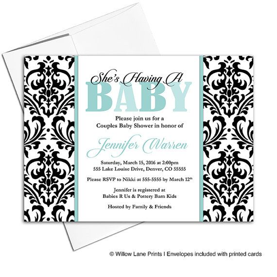 coed baby shower invitation couples gender neutral baby shower invite mint black and