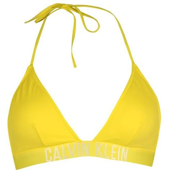 Calvin Klein Triangle Bikini Top (£38) ❤ liked on Polyvore featuring swimwear, bikinis, bikini tops, yellow, strappy swimsuit top, swimsuit tops, strappy swim top, strap bikini and yellow bikini top
