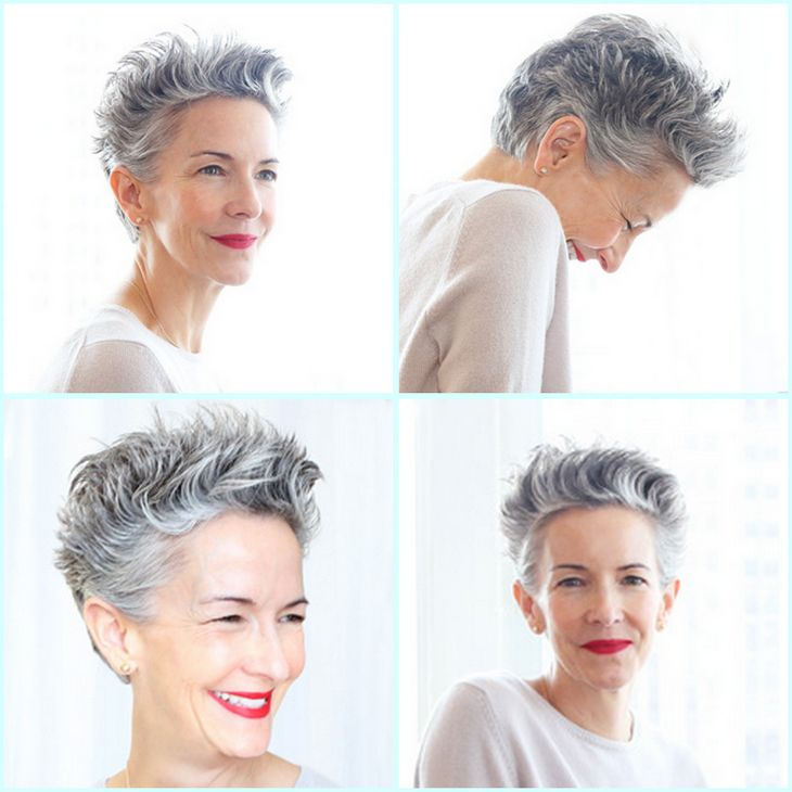 """Catherine Walsh - Senior Vice President, Coty - on her amazing gray short hair: """"My secret is that, after I wash and towel-dry my hair, I put in Nivea Creme. It doesn't work on all hair types, but mine is very thick, and it adds a nice sheen and separated texture. I take as much as if I was just going to moisturize my hands, rub it between my palms and shape my hair."""" Photo: Emily Weiss http://intothegloss.com/2013/09/catherine-walsh-coty/"""