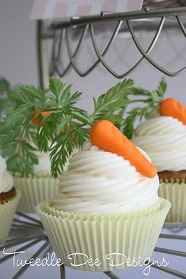 """carrot cake cupcakes - w/recipe for frosting~these are screaming """"Springtime"""""""
