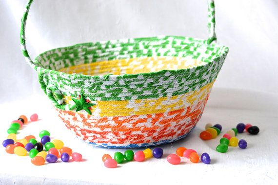 Rainbow Easter Basket, Handmade Kid's Basket, Cute Easter Decoration, Easter Egg Hunt Bag, Artisan Quilted Organizer, Boy Easter Bucket   #wexfordtreasures #Easter #basket #bowl #bucket #decoration #Easter #egg #hunt #gift #decorative #handmade #home #decor  #etsyshop #artisan #coiled #boy #girl #quilted #fabric #cotton #rope