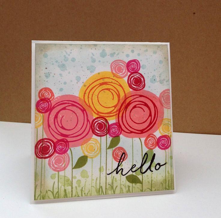 Ja, nog een kaartje met de Swirly Bird set hoor ;-). Weer lekker gestempeld en deze keer een veld met bloemen.... Nog twee nachtjes slapen e...