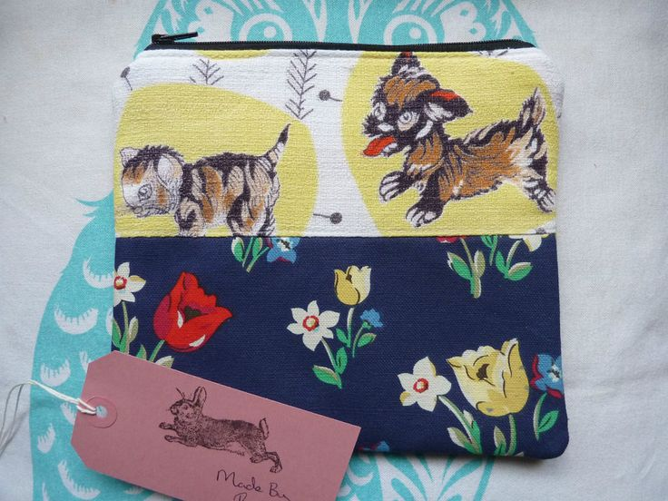 Handmade Makeup Bag Vintage Barkcloth Dog Cat Cath Kidston Fabric Cosmetic Pouch in Clothes, Shoes & Accessories, Women's Accessories, Purses & Wallets | eBay