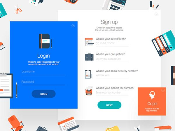 graphic elements signup