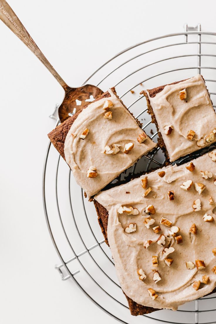 pumpkin snack cake with maple pecan frosting