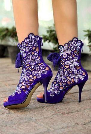 Purple ankle stilettos