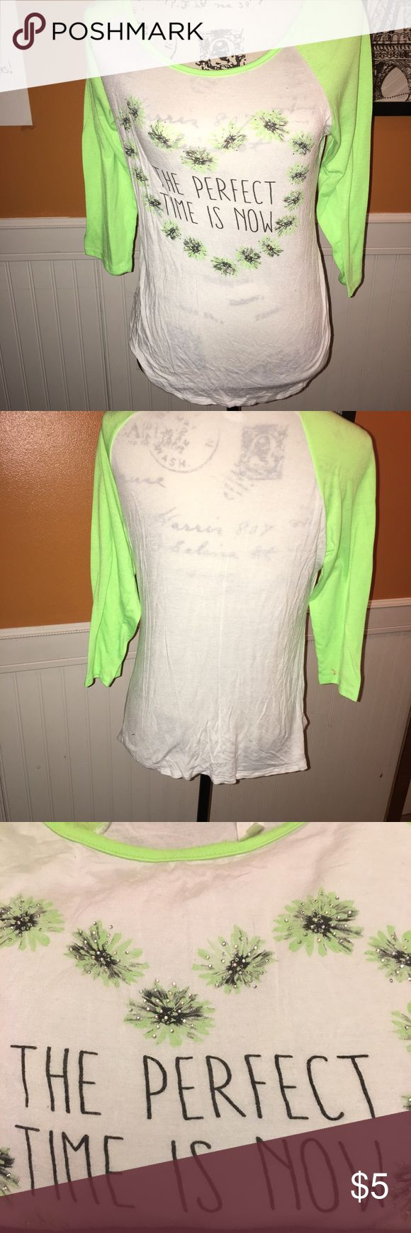 Deb Shop LS tee shirt Rhine  stones size L A part of the Deb collection is this pretty juniors size large longsleeved Rhine stone shirt pre worn size L Deb Shop Tops Tees - Long Sleeve