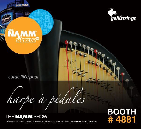 The NAMM Show, January 21-24, 2016, Anaheim, CA The NAMM Show Hall C - Booth #4881 The NAMM Show #gallistrings #harp #strings #harppedales #harpceltique #NAMM16