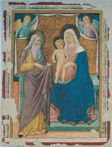 Pierantonio Mezzastris - Madonna col bambino - affresco staccato - Palazzo Trinci,  Pinacoteca civica, Foligno (Umbria)