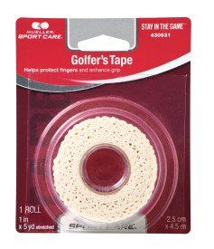 buy now   £8.55   What is Mueller Grip Tape? Conforming elastic tape to help prevent finger blisters when gripping sports equipment, such as golf clubs, hockey and lacrosse sticks, cricket and baseball  ...Read More