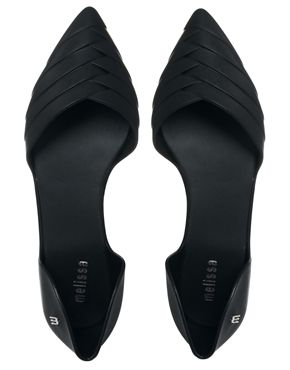Melissa Petal 2 Part Black Flat Shoes