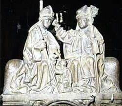 Martin wird zum Bischof von Tours geweiht 370/71. Kalkar, St. Nikolai-Kirche, Chorgestühl 16. Jahrhundert. Henrik Bernts  Liutwin Thull, Aachen.