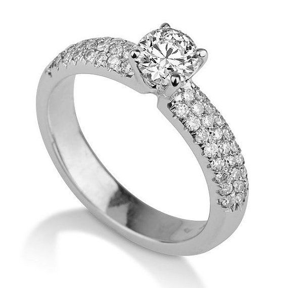 Pave Diamond Ring 14K White Gold Engagement Ring by DiamondsMine - very pretty!