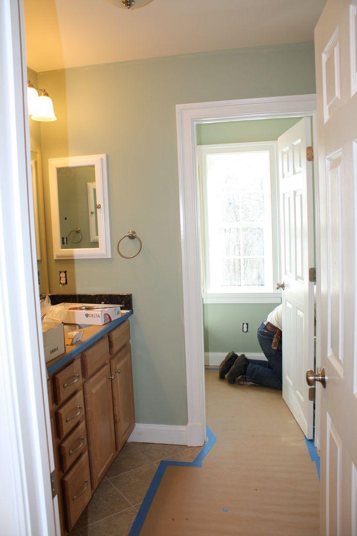sage, white, and tan bathroom | Benjamin Moore Salisbury Green