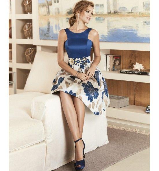 Vestido de fiesta corto falda estampada cuerpo liso cinturon flores. vestidos de fiesta online cortos y de marca, aqui. Vestidos de fiesta online españa