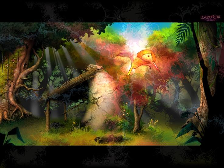 Fantasy - Bird in Forest from Demoscene illustration