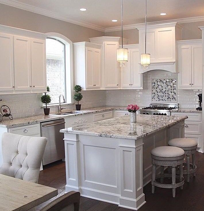 Island & stools plus White cabinets, grey granite, white subway backsplash  & stainless.