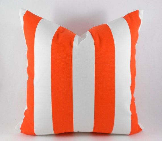 Outdoor Pillow Covers ANY SIZE Decorative Pillows Orange Pillow Premier Prints Outdoor Vertical Stripe Orange