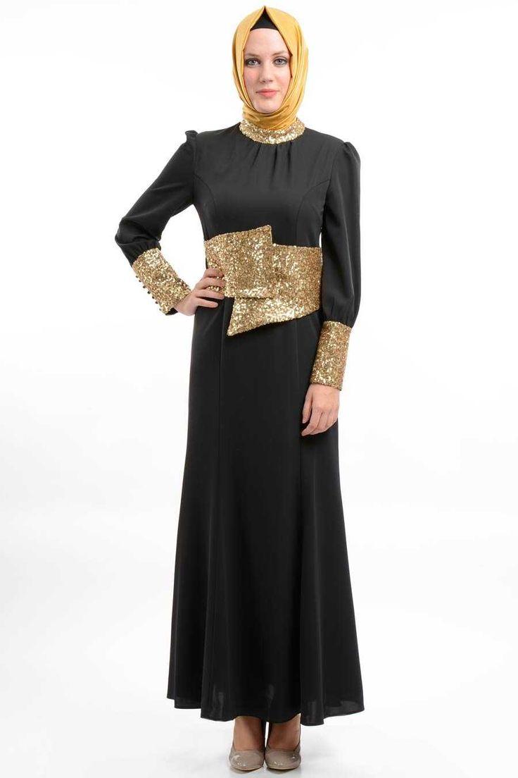 Puane - Payet İşlemeli Siyah Elbise