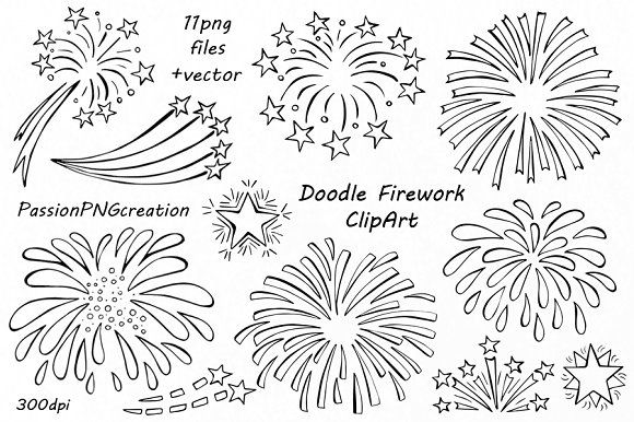 Doodle Firework Clipart ~ Illustrations on Creative Market