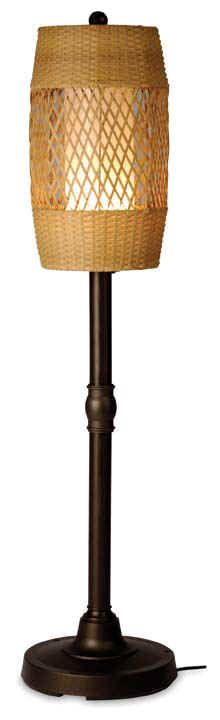 Tonga Outdoor Wicker Floor Lamp At the end of a day, when temperatures are just right, head to the patio with friends and family for a relaxed gathering. As nighttime arrives, the Tonga floor lamp is ready to contribute subdued light along with its tropical appeal. The barrel shade, crafted in all-weather wicker, features a diamond lattice center with woven banding at the top and bottom. In honey tones, it creates a unique lighting effect from the interior polycarbonate bulb cover.