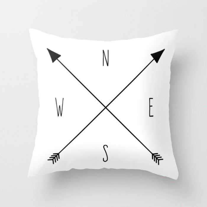 Compass Pillow Cover, Black & White Cushion Cover, Arrow Throw Pillow, North South East West Accent Pillow, Compass Rose, Boho Pillow Cover by OlaHolaHolaBaby on Etsy