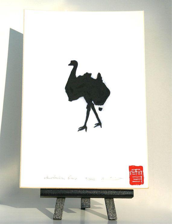 australian emu  original drawing of an emu being by freshandsilly, $100.00