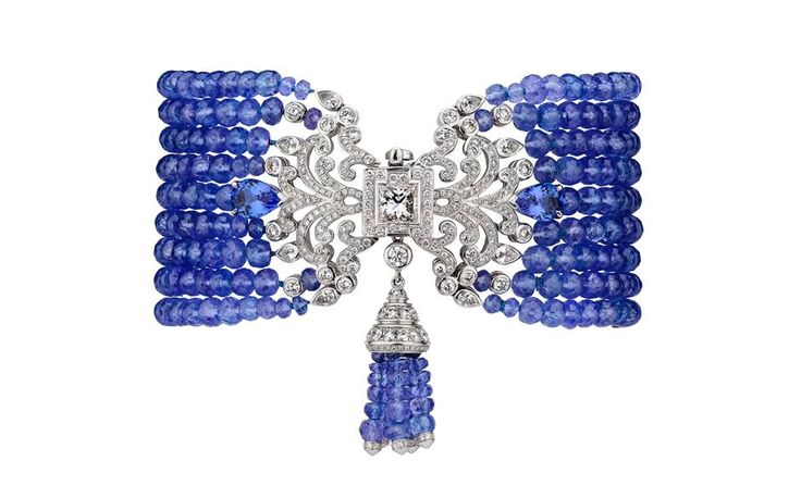 Garrard Wisteria bracelet in white gold with diamonds, sapphires and tanzanite beads, £POA