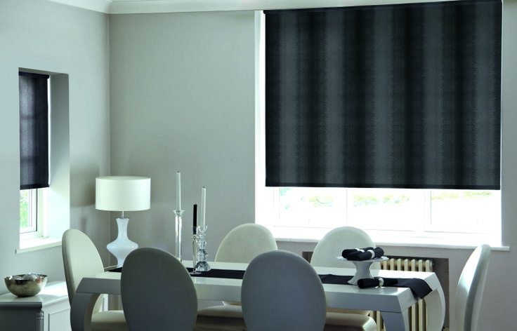 Contemporary Black And Grey Patterned Dining Room Roller Blinds