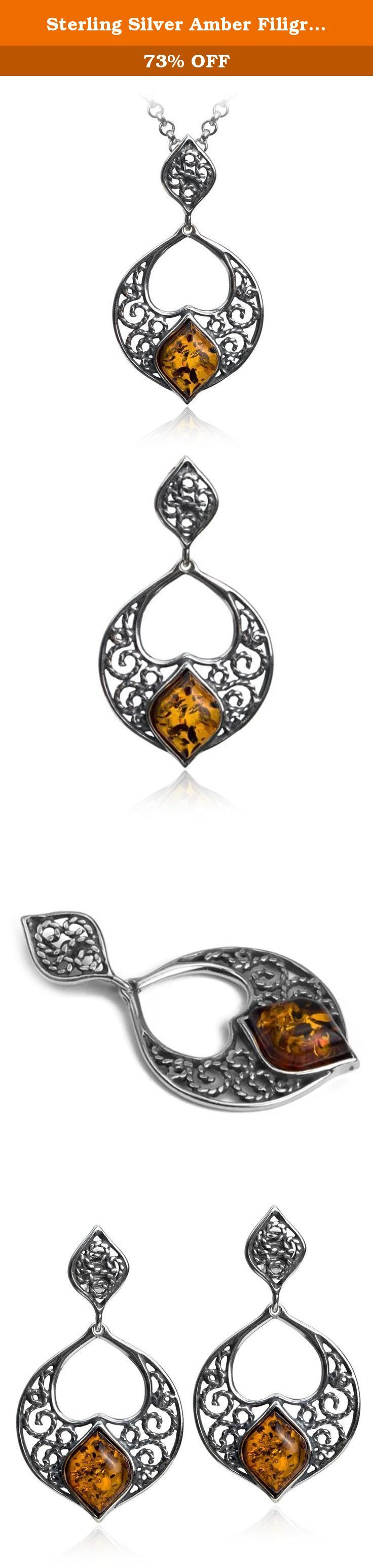 """Sterling Silver Amber Filigree Earrings and Pendant Set 18"""". Most of our amber found in Baltic sea area. Baltic sea considered to have biggest deposits of amber and quality of gemstone in this region is better than in any other location. Besides Baltic region there are large deposits of amber in Dominican republic, Columbia and Africa."""