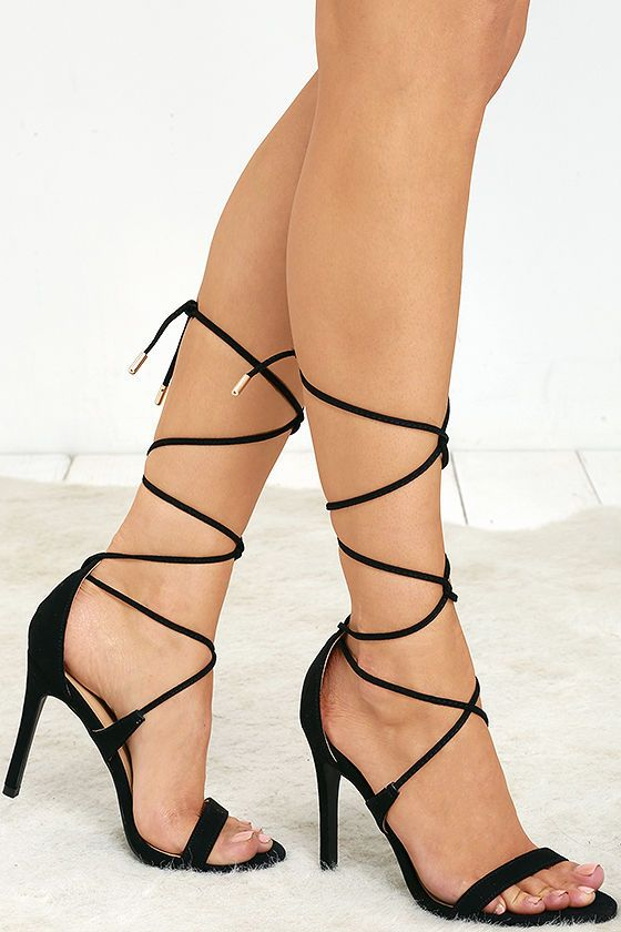The crowd will beg for an encore of you in the All the Applause Black Suede Lace-Up Heels! Velvety vegan suede heels have a single toe strap, and sturdy heel cup with long laces that tie around the ankle.