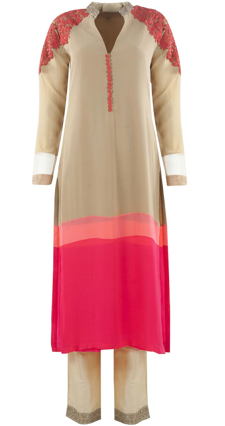 Beige, peach and pink coloured georgette patched kurta set available only at Pernia's Pop-Up Shop.