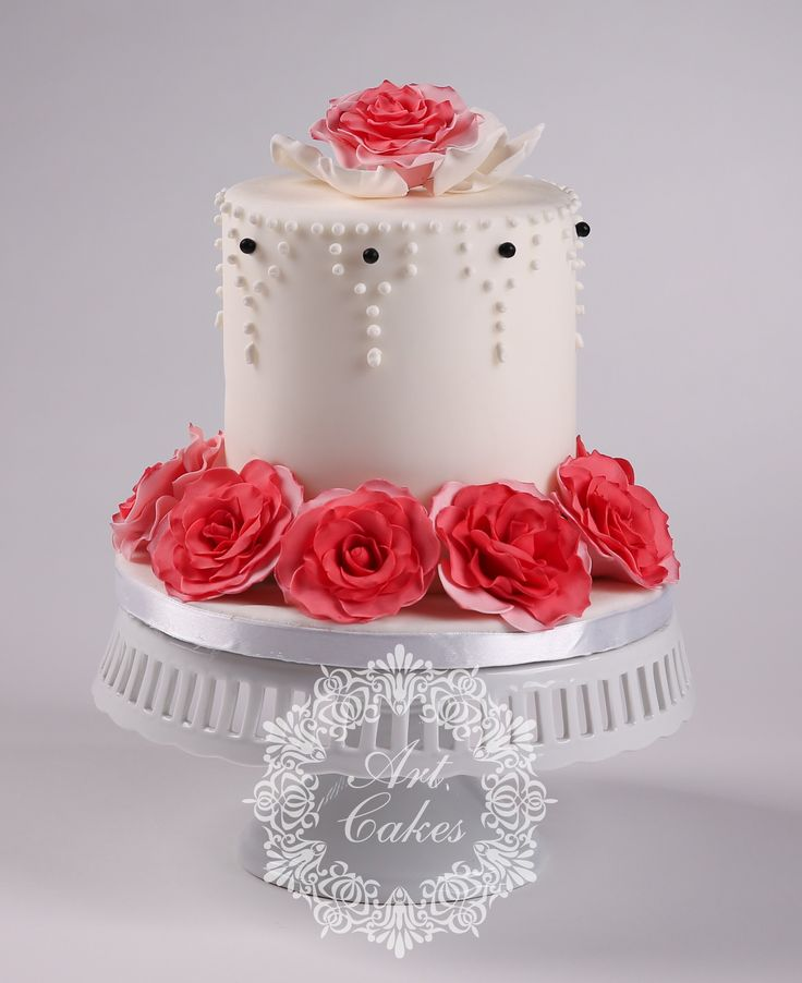 roses and double barrel cake - ruže. www.artcakes.sk