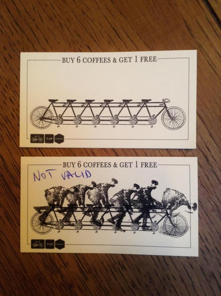 Buy one coffee to get a bike rider stamp. TAP Coffee, London.