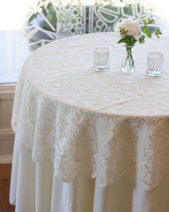Ivory Lace Tablecloth 60 Inches Round Lace Table Overlays In 2020