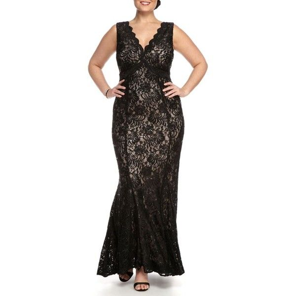 Nightway Blacknude Plus Size Lace And Sequin Gown - Women's ($150) ❤ liked on Polyvore featuring plus size women's fashion, plus size clothing, plus size dresses, plus size gowns, sequin dresses, plus size sequin dress, lace gown, sequin evening gowns and plus size sequin gowns