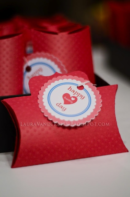 Pillow box valentine using the Silhouette Cameo print and cut feature for tag and cut and score feature for box.