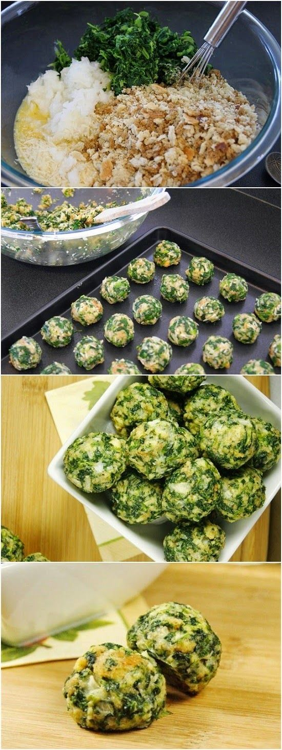 Parmesan Spinach Balls Ingredients 2 (10 oz.) packages frozen spinach, thawed & well-drained 2 small onions, very finely chopped (I use a food processor) 2¼ c. stuffing with herbs (I use Pepperidge Farm) 6 eggs, beaten ½ c. melted butter ½ c. Parmesan cheese 2 tsp. garlic salt 1 tsp. black pepper