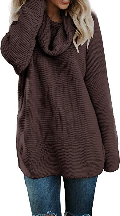 07cd47744d43 Pxmoda Women s Casual Long Sleeve Turtleneck Knit Sweater Chunky Oversized  Pullover Jumper (S