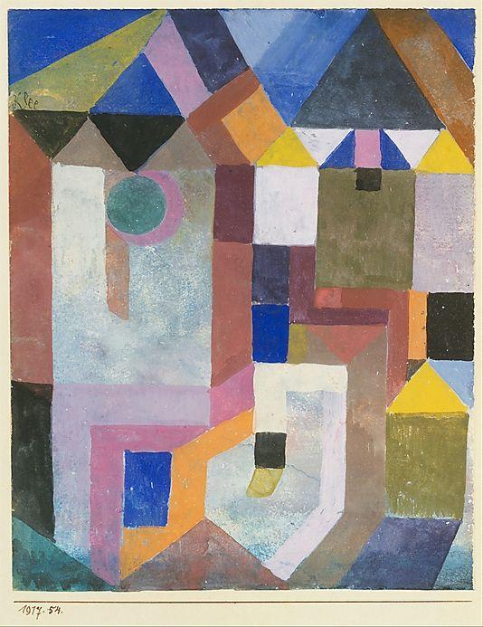 Arquitectura colorido Paul Klee (alemán (nacido en Suiza), Münchenbuchsee 1879-1940 Muralto-Locarno) Fecha: 1917 Medio: Gouache sobre papel Dimensiones: H. 6-3/4, 5-3/8 pulgadas W. (17,1 x 13,3 cm.) Clasificación: Dibujos Línea de crédito: La Colección Berggruen Klee, 1984