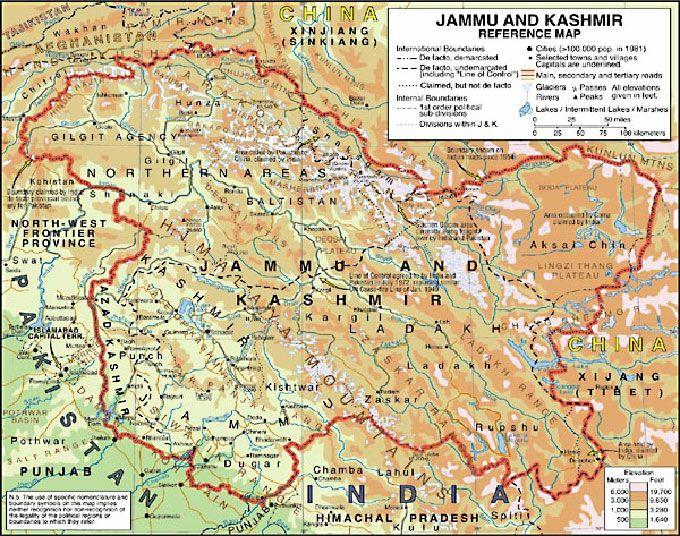 Political Simple Map of Jammu and Kashmir, single color ...  Jammu And Kashmir World Map