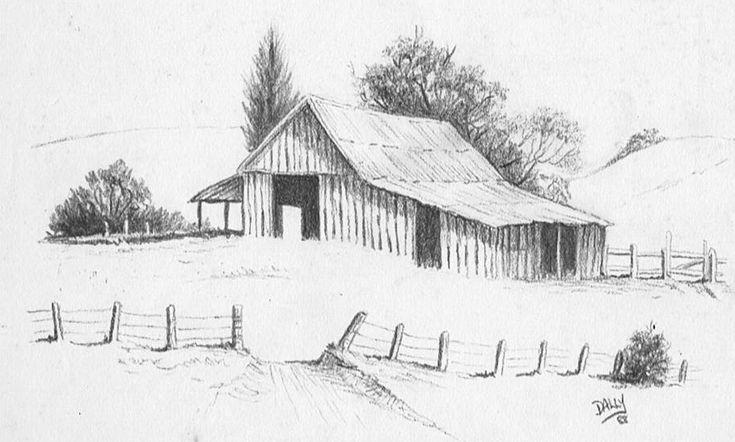 how to draw a farm scene