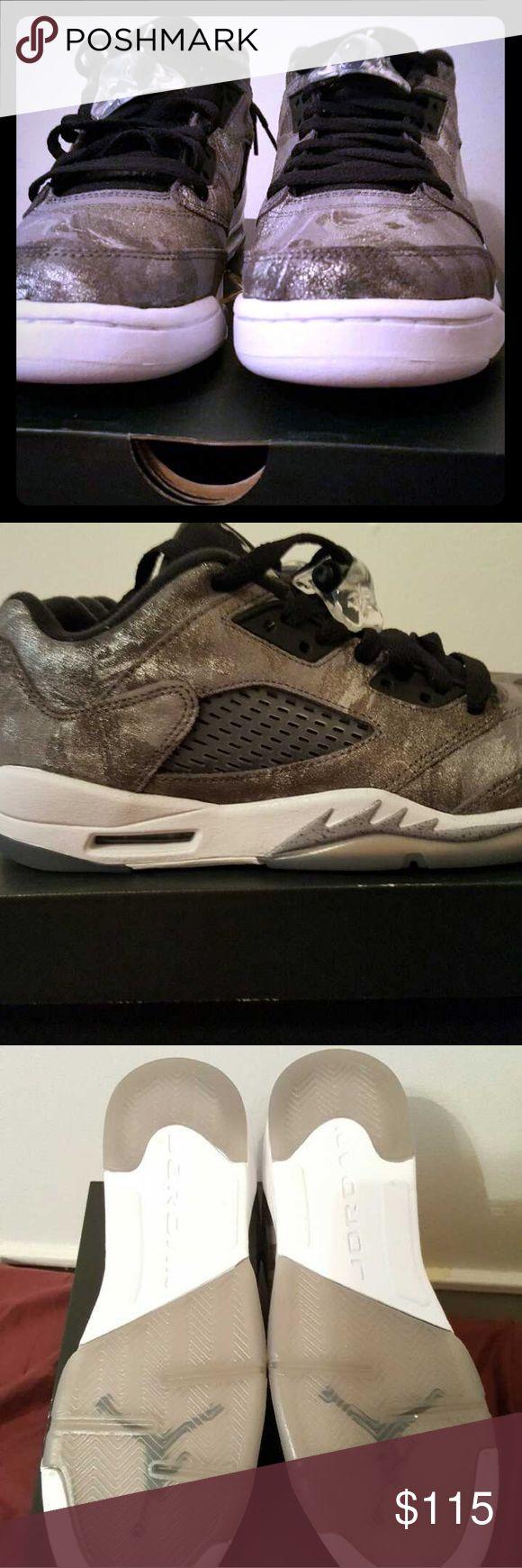 Retro jordan 5 low Grey matalic fatigue Jordan Shoes Athletic Shoes