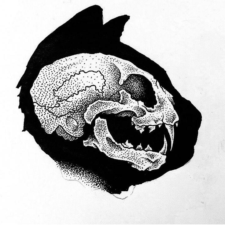 Tattoo idea cat skull poke