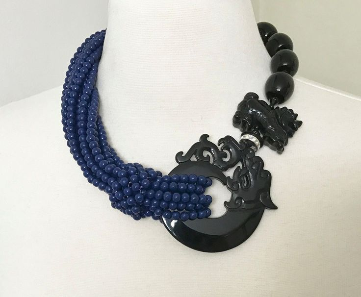 Fabulous Angela Caputi L'Orient Multi Strands Blue Necklace Resin Tiger/Dragon  in Jewelry & Watches, Fashion Jewelry, Necklaces & Pendants   eBay