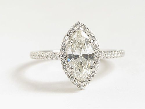 Marquise Cut Halo Diamond Engagement Ring in 18k White Gold from bluenile.com